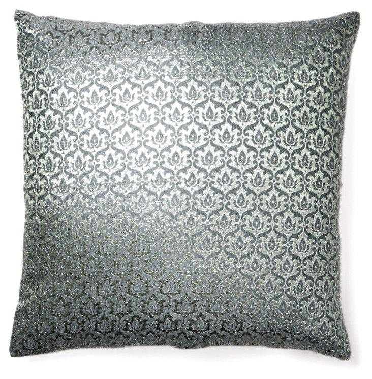Damask 18x18 Silk Pillow, Steel