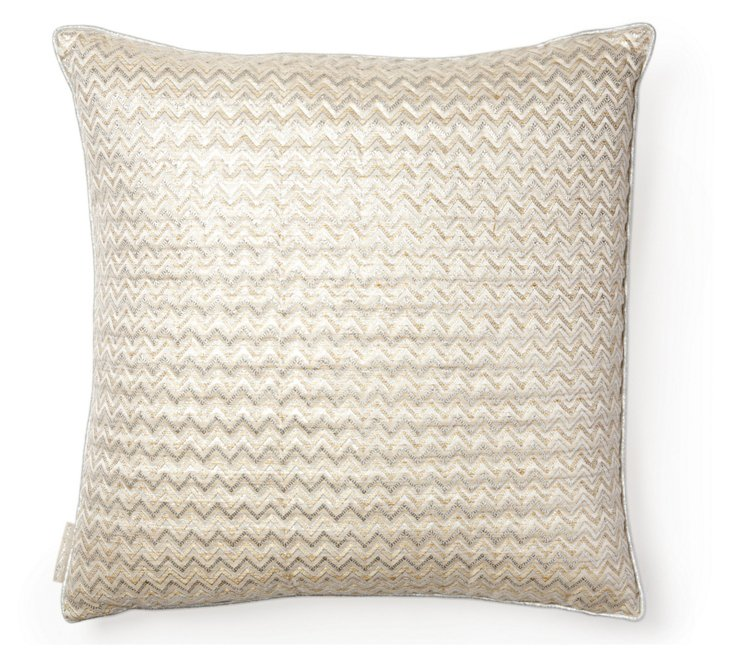 Herringbone 18x18 Silk Pillow, Platinum