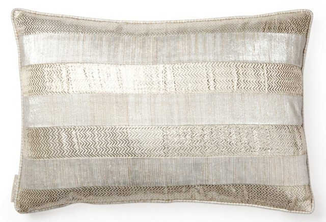 Zigzag 13x20 Silk Pillow, Silver