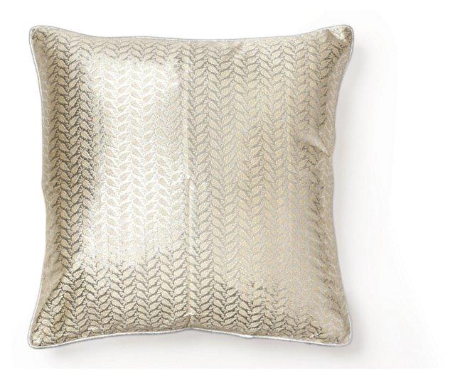 Ferns 18x18 Silk Pillow, Gold/Silver
