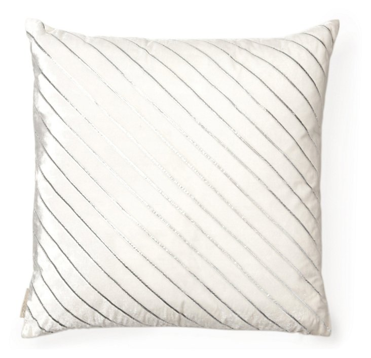 Stripes 18x18 Pillow, White