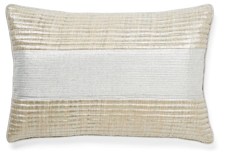 Middle 13x20 Silk Pillow, Silver