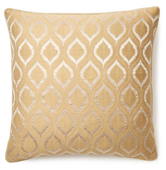 Moroccan 18x18 Silk Pillow, Gold