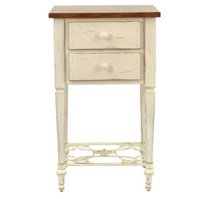 Monica Side Table, White/Brown