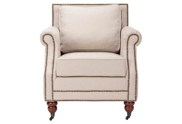 Hudson Nailhead Club Chair, Beige Linen