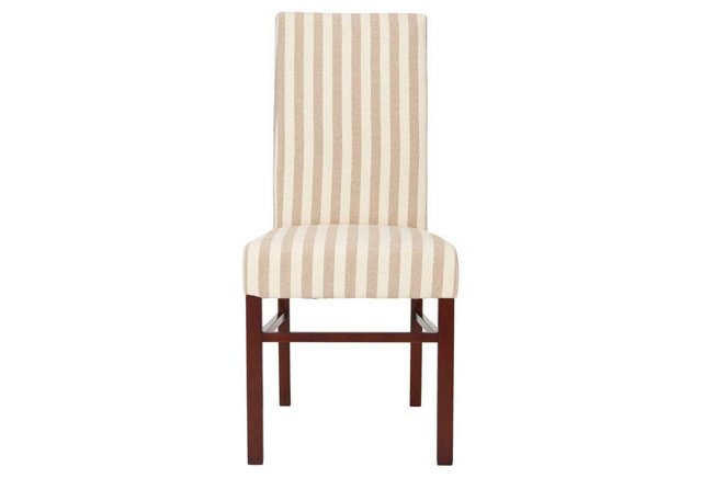 Camel Striped Anderson Side Chairs, Pair