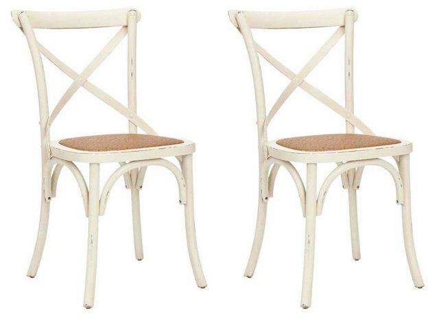 White Bonnie Side Chairs, Pair