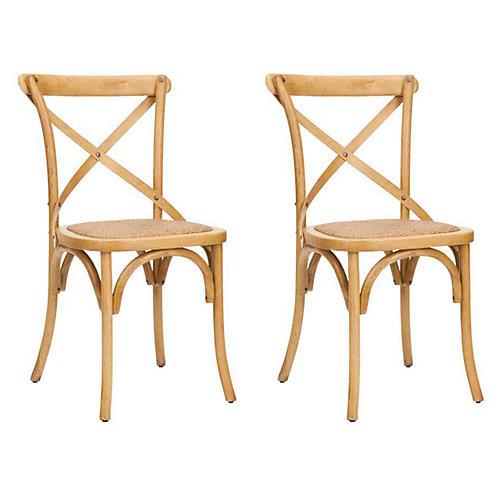 Natural Bonnie Side Chairs, Pair