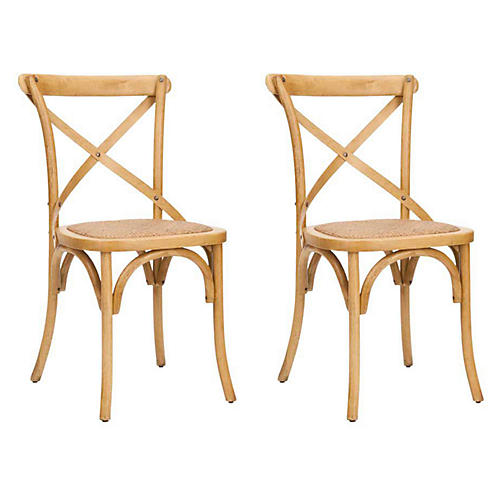 Natural Bonnie Side Chairs, Pair