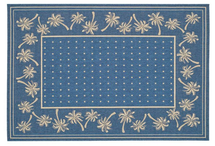 "5'3""x7'7"" Ava Outdoor Rug, Blue/Ivory"