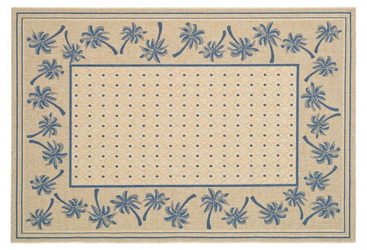 Ava Outdoor Rug, Natural/Blue