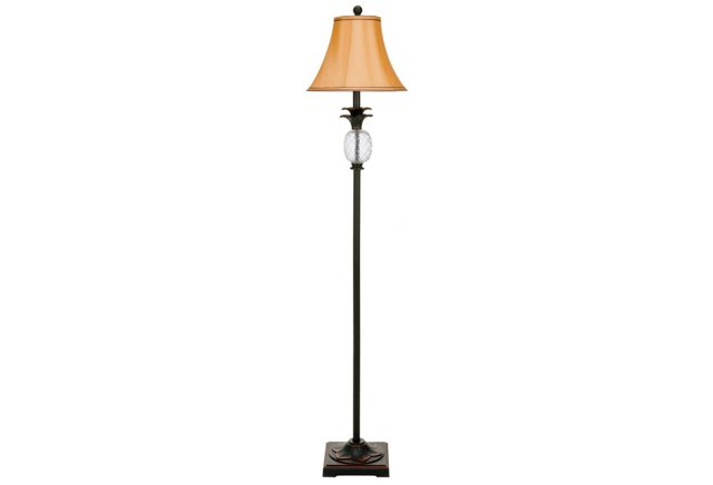 Pineapple Floor Lamp, Antiqued Brass