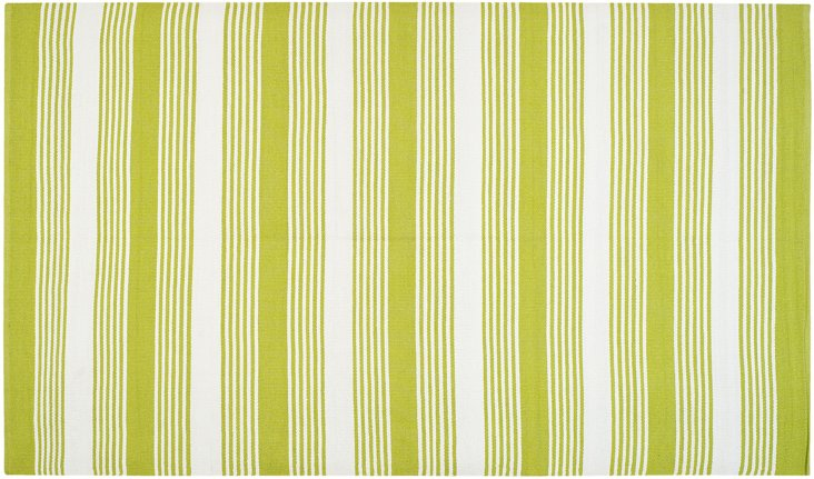 Thom Filicia Outdoor Rug, Lime/White