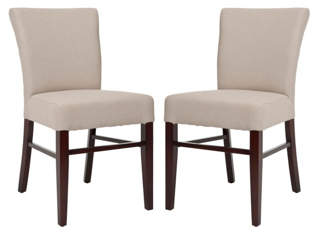 Beige Flynn Side Chairs, Pair