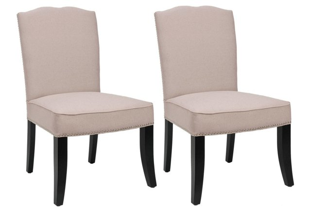 Beige Cole Side Chairs, Pair