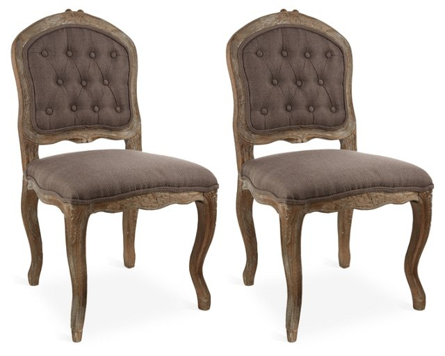 Gray Callum Side Chairs, Pair