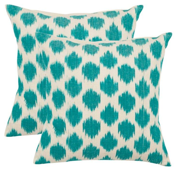 S/2 Ikat Dot 22x22 Cotton Pillows, Teal