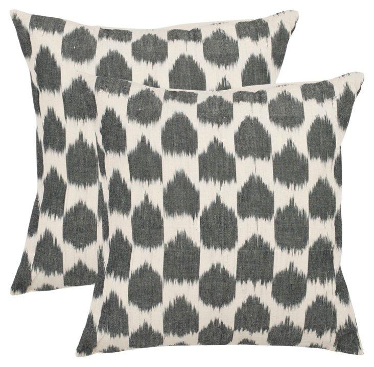 Set of 2 Ikat Dot 22x22 Pillows, Gray