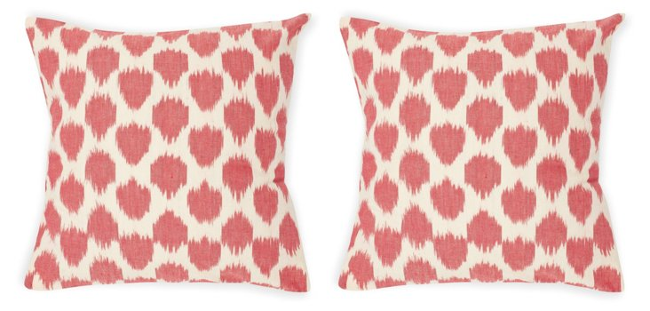 Ikat Dot S/2 Pillows, Rose