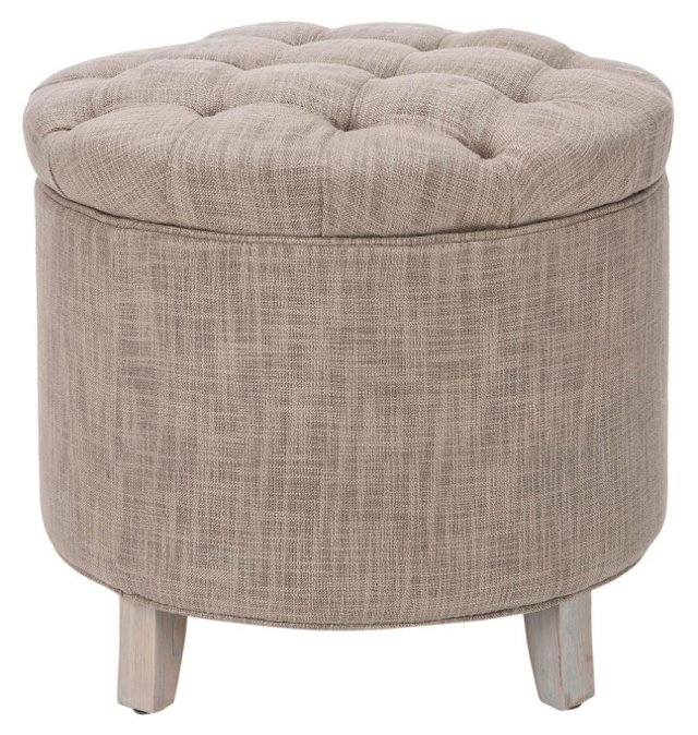 Arabella Storage Ottoman, Taupe/Natural