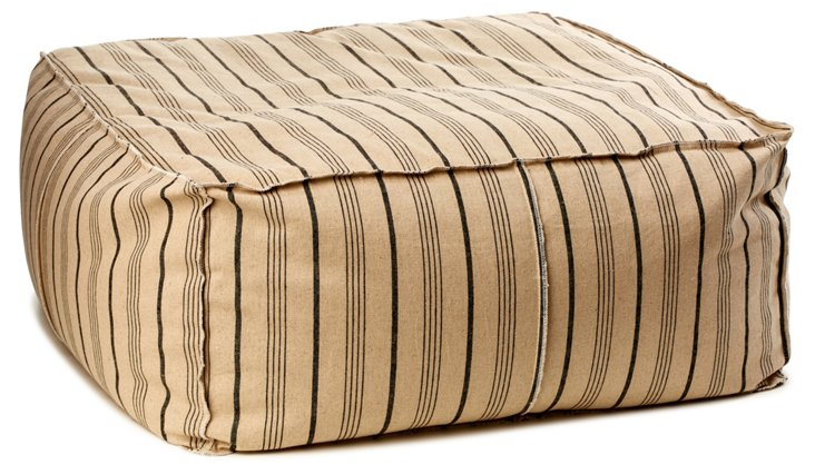 Cosima Oversize Striped Pouf, Oatmeal