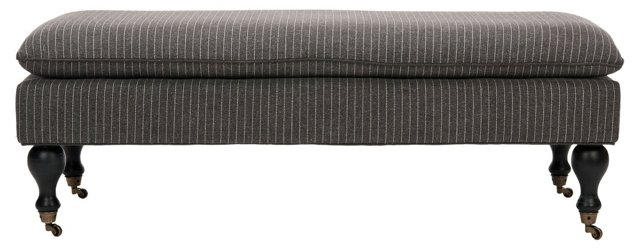 Nikolette Pillow-Top Bench, Charcoal