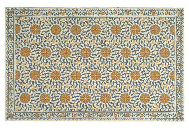 Tunisia Rug, Ivory/Blue/Gold