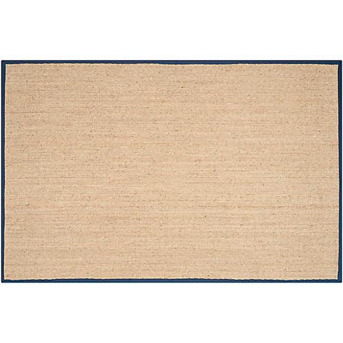 Cobain Sea-Grass Rug, Natural/Blue