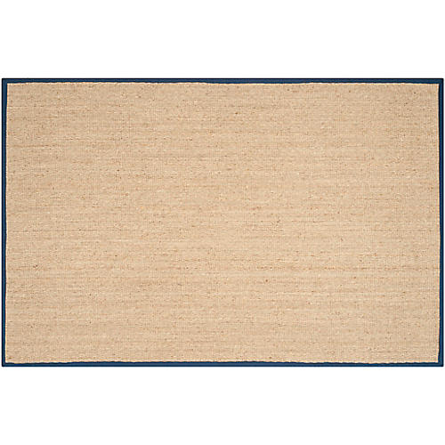 Cobain Sea-Grass Rug, Natural/Blue