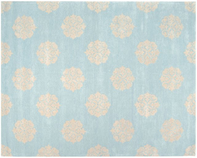 Greenwich Rug, Blue/Cream