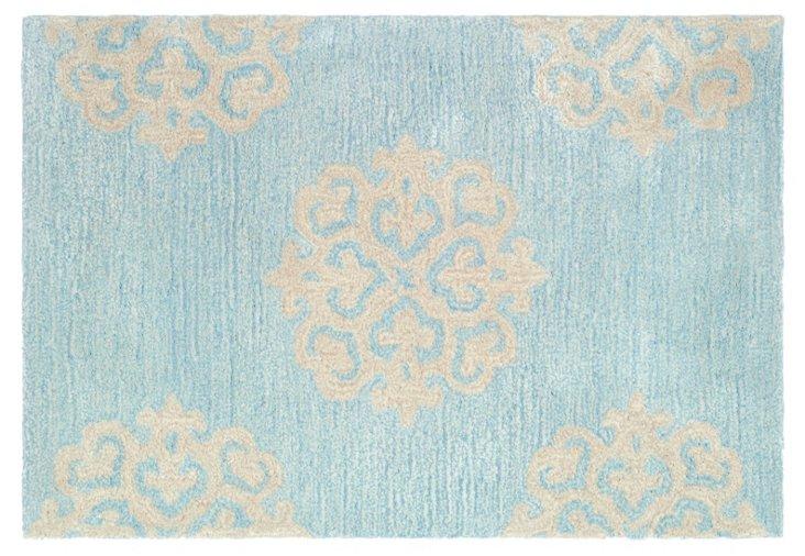 Greenwich Rug, Blue/Cream