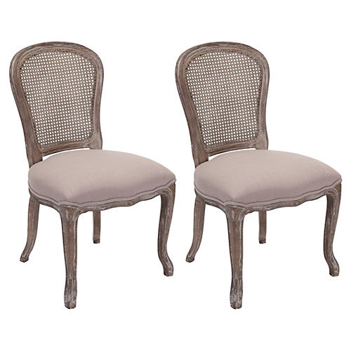 Taupe Linen Cara Chairs, Pair
