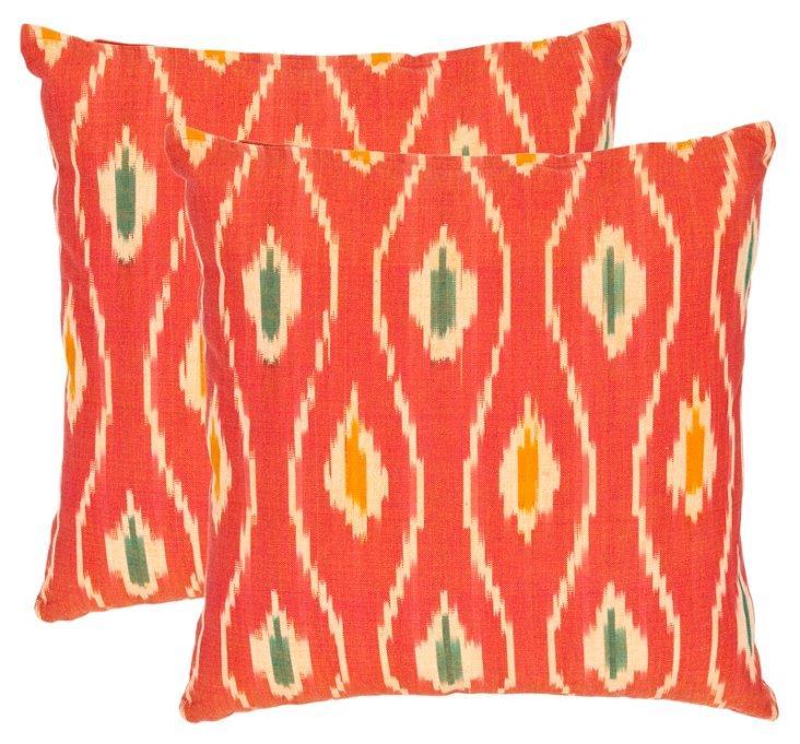 S/2 Mateo Cotton Pillows, Orange