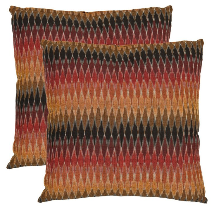 S/2 Pippa Cotton Pillows, Rust