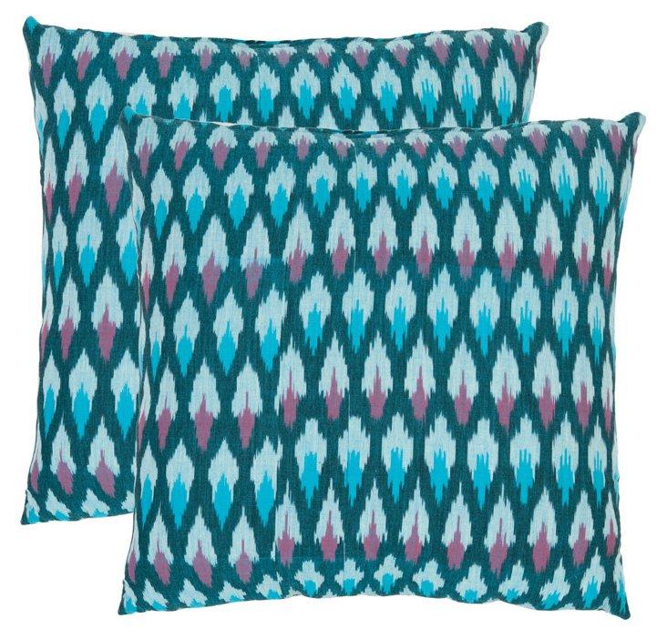 Set of 2 Murphy Pillows, Aqua