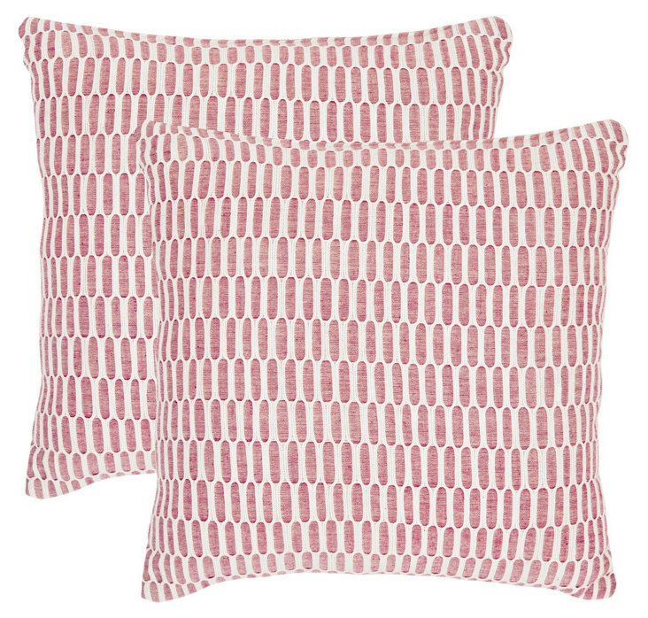 Set of 2 Rory 18x18 Pillows, Rose