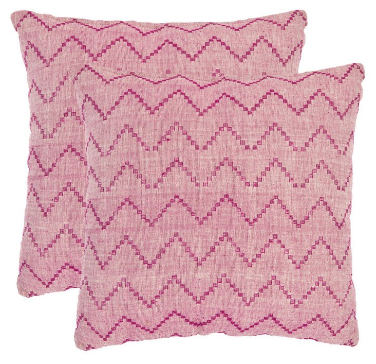 S/2 Springer Cotton Pillows, Pink