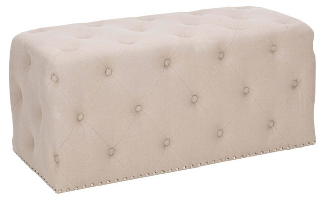 Vincent Rectangular Ottoman, Beige