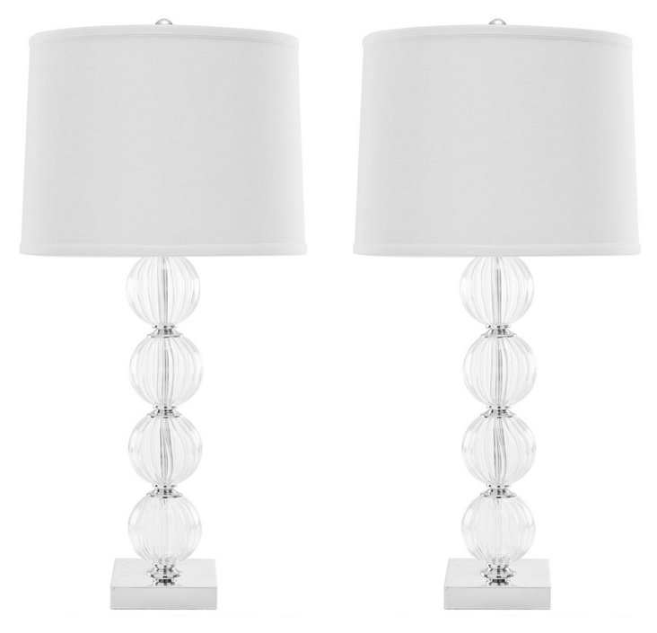 Glass Ball Table Lamp Set, White
