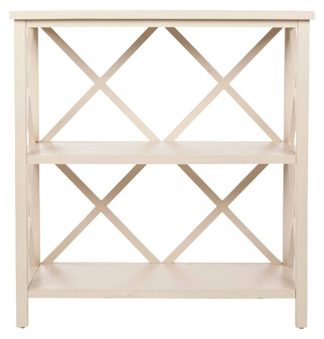 Hadley Open Bookcase, Distressed White