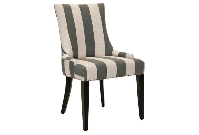 Hayward Dining Chair, Gray/Beige Stripe