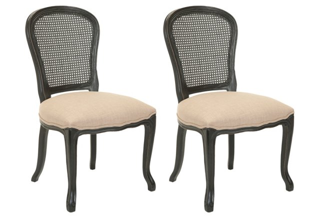 Beige/Black Lucy Side Chairs, Pair