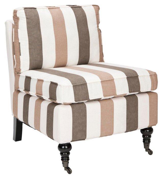 Davis Armless Club Chair, Toffee/Cream