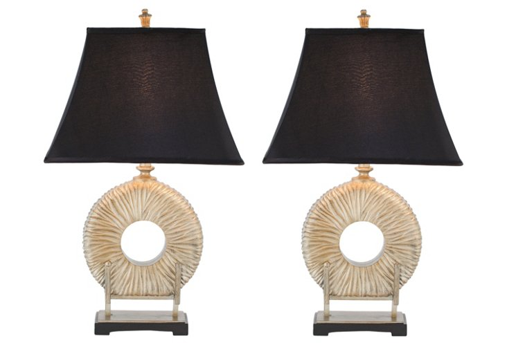 Cecily Table Lamp Set, Ivory/Gold