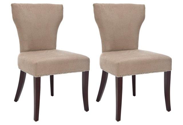 Wheat Milo Side Chairs, Pair