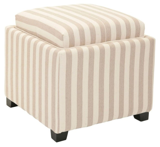 Julian Tray Ottoman, Tan/White