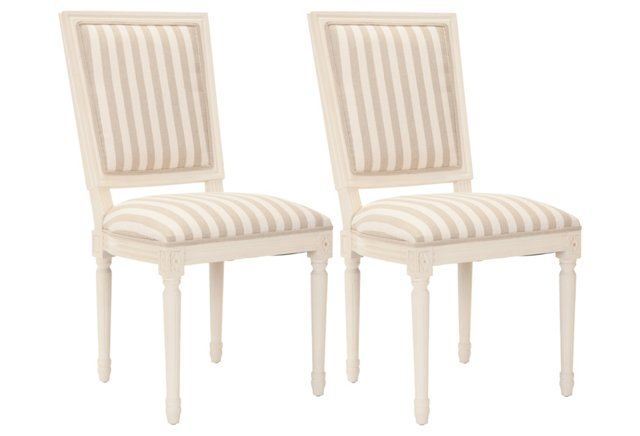 Cream Striped Donnelly Side Chairs, Pair