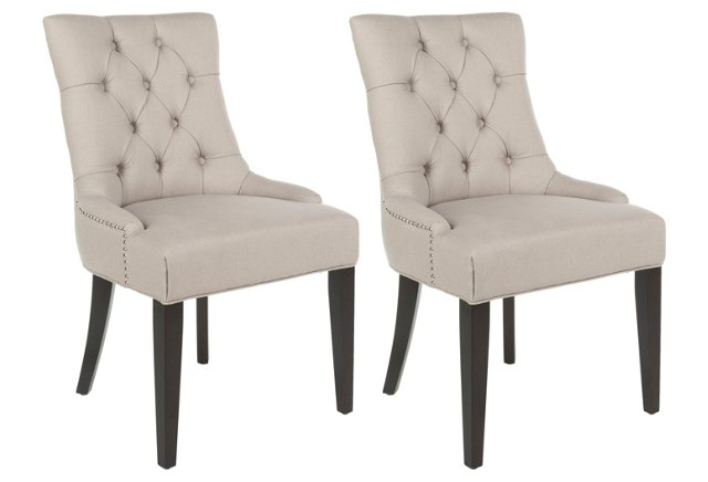 Beige Cameron Side Chairs, Pair