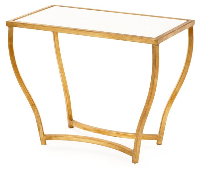 Keeling Accent Table, White/Gold
