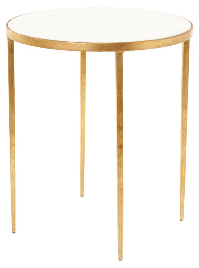 Kast Side Table, White/Gold